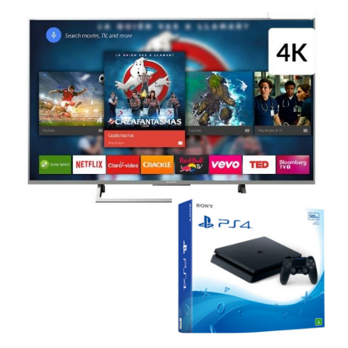 "[INN03111] Combo Pantalla 55"" Sony XBR-55X805E/S Smart T.V. 4K + Consola Sony PlayStation 4 Slim 500GB"