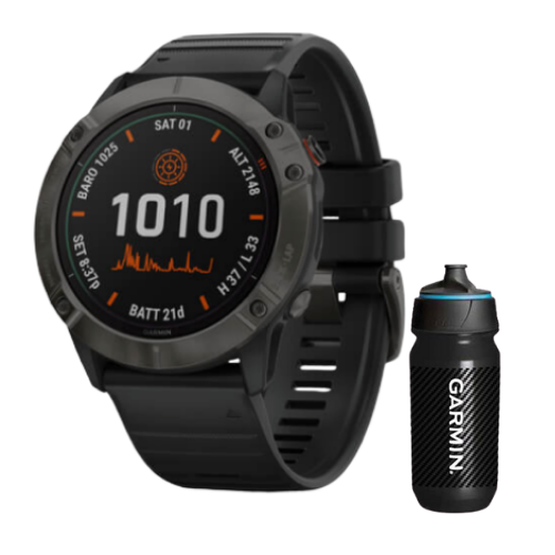 [INN03400] Combo SmartWatch Garmin Fenix 6X Pro Solar Titanium Carbon Gray + Botella Garmin Carbon 500 ML