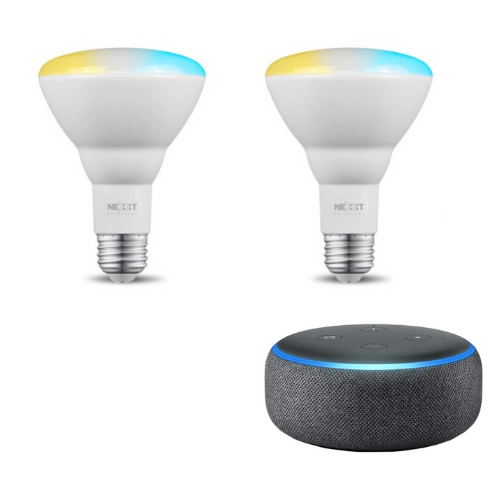 Combo Bombillo de Luz Blanca Regulable Nexxt Solutions Connectivity NHB-W2 + Parlante Inteligente Amazon Echo Dot Alexa 3