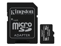 [INT3973] Kingston Canvas Select Plus - Tarjeta de memoria flash (adaptador microSDHC a SD Incluido) - 16 GB