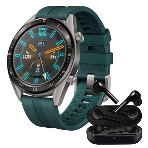 Combo SmartWatch Huawei FTN-B19 Titanium Grey Stainless Steel+Audífonos Huawei Free Buds Lite